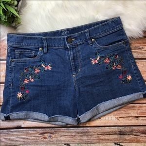 Loft Floral Embroidered Roll Up Jean Shorts